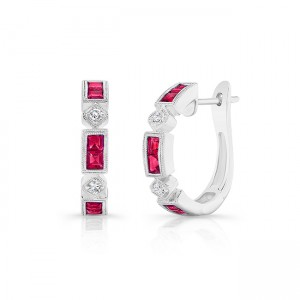 Uneek Ruby Huggies, in 18K White Gold