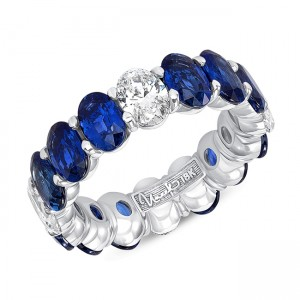 Uneek Oval Blue Sapphire and Oval Diamond Eternity Band, White Gold
