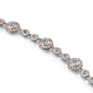 Uneek 18K White and Rose Gold White and Pink Diamond Bracelet LBR006