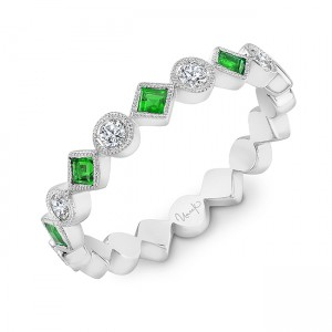 Uneek Emerald Fashion Ring, in 14K White Gold