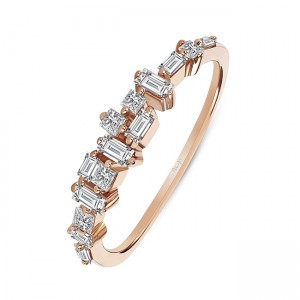 Uneek Diamond Ring with Baguette and Princess Diamonds, in 14K Rose Gold - LVBAD271R