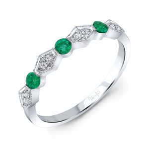 Uneek Emerald and Diamond Fashion Ring, in 14K White Gold