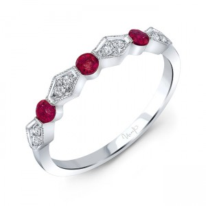 Uneek Ruby and Diamond Fashion Ring, in 14K White Gold
