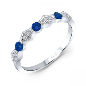 Uneek Blue Sapphire and Diamond Fashion Ring, in 14K White Gold