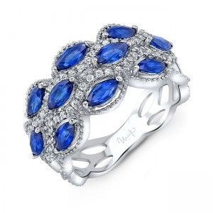 Uneek Blue Sapphire and Diamond Fashion Ring, in 18K White Gold