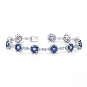 Uneek Marquise Blue Sapphire and Round Diamond Cluster Bracelet