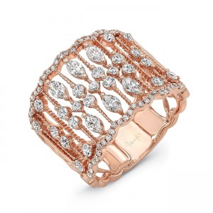 "Uneek LVBW9475R ""Bayeux"" Open Lace Wide Diamond Band"