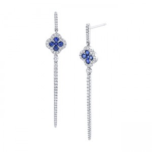 Uneek Blue Sapphire Earring, in 18K White Gold