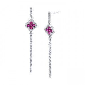 Uneek Ruby Earring, in 18K White Gold