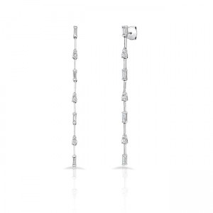 Uneek Cascade Collection Threader-Inspired Dangle Earrings with Baguette and Round Diamonds, 18K White Gold