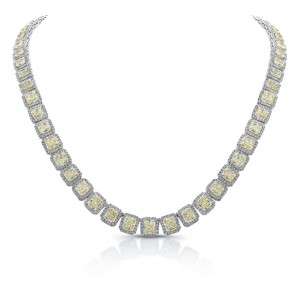 Uneek 18K White Gold Yellow and White Diamond Necklace LVN590