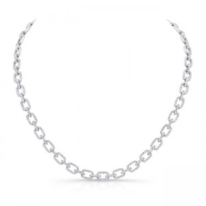 Uneek Diamond Pave Rectangular Link Necklace, in 18K White Gold
