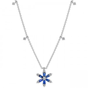 Uneek Blue Sapphire Necklace, in 18K White Gold