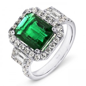 Uneek Green Emerald Engagement Ring, in 18K White Gold