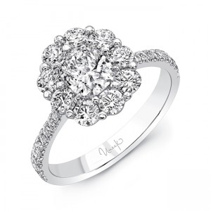 Uneek Cushion-Cut Diamond Engagement Ring with Floral-Inspired Shared-Prong Round Diamond Halo, in 18K White Gold