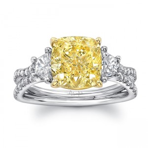 """Uneek Three-Stone Engagement Ring with Cushion-Cut Fancy Yellow Diamond Center and Pave """"Silhouette"""" Double Shank, in Platinum and 18K Yellow"""