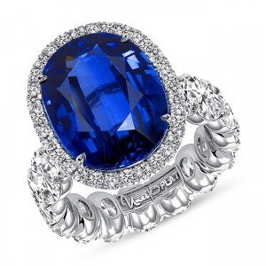 "Uneek ""The JAXSON Bleu"" Royal Blue Sapphire Platinum Ring - LVS1053OVBS"