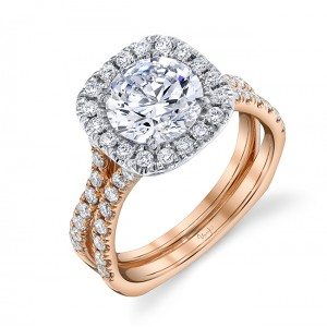 Uneek Round Diamond Engagement Ring, in 18K White and Rose Gold