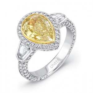 Uneek Natureal Yellow Pear Shape Diamond Engagement Ring LVS397