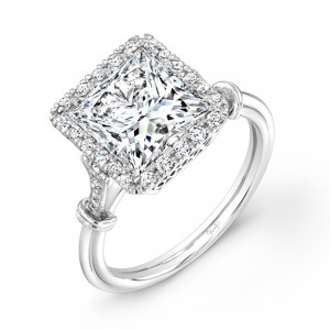 Uneek LVS834 Princess-Cut Diamond Halo Engagement Ring with Antique-Inspired Ornamented Gallery