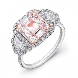 LVS881 Uneek Emerald Cut Fancy Light Pink Center Three Stone Engagement Ring In Platinum With 18K Rose Gold Filigree Accents