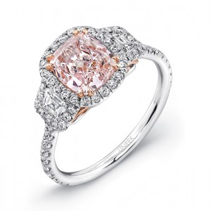 Pink diamond engagement rings rare engagement rings lvs882 uneek cushion cut fancy light pink center three stone engagement ring in platinum with 18k rose gold filigree accents junglespirit Gallery