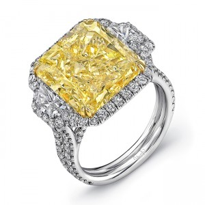 Uneek LVS919 11-Carat Radiant Fancy Yellow Diamond Three-Stone Ring