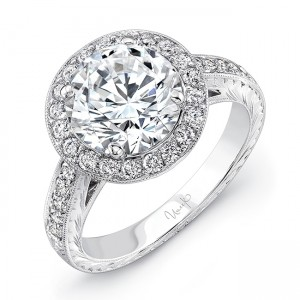 Uneek LVS937 Round Diamond Engagement Ring with Vintage-Inspired Filigree and Hand Engraving Details