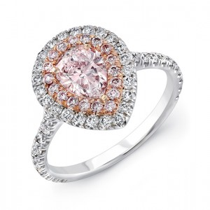 lvs943 7x5ps pear shaped pink diamond engagement ring with pink diamond inner halo and white diamond outer halo in 18k white and rose gold - Pink Wedding Rings