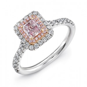 lvs943 uneek radiant cut pink diamond engagement ring with pink diamond inner halo and white diamond outer halo in 18k white and rose gold - Colored Wedding Rings