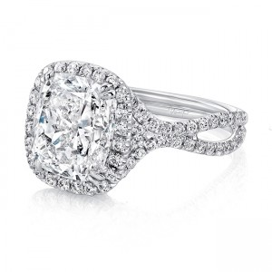 """Uneek LVS955 Cuhsion-Cut Diamond Halo Engagement Ring with Pave """"Silhouette"""" Double Shank"""