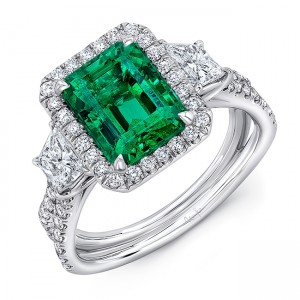 "Uneek Three-Stone Ring with Emerald-Cut Green Emerald Center and Pave ""Silhouette"" Shank, in Platinum"