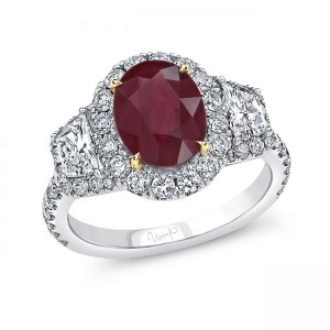 Uneek Oval Ruby Ring with Diamond Halo and Trapezoid Sidestones, 18K Gold