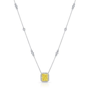 Uneek Radiant Fancy Yellow Diamond Pendant, in 18K White Gold