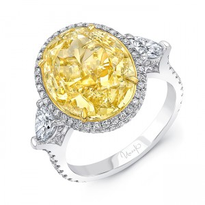 Uneek Fancy Yellow Diamond Engagement Ring in 18K White Gold - R010U