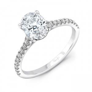 Uneek Oval Diamond Engagement Ring, in 14K White Gold