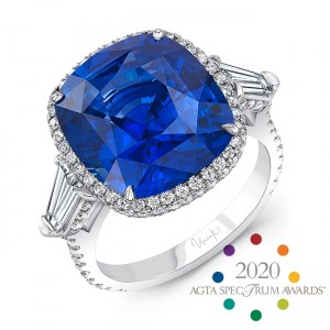 Uneek Cushion Blue Sapphire Engagement Ring, in Platinum