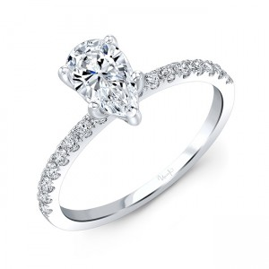 Uneek Pear Shaped Diamond Engagement Ring, in 18K White Gold