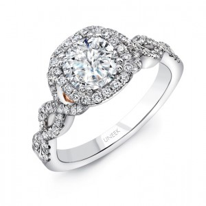 Uneek A109CUWR Round Diamond Engagement Ring with Cushion Halo, Pave Double Crisscross Upper Shank and Under-the-Head Filigree