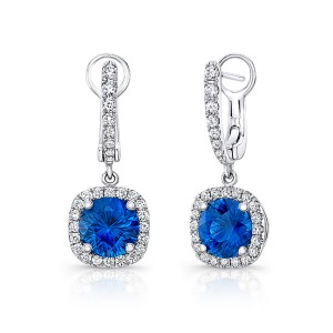 Uneek Round Blue Sapphire  Drop Earrings with Cushion-Shaped Diamond Halos, 18K White Gold