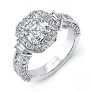 uneek estate inspired asscher cut diamond ring with trapezoid sidestones 18k white gold - Vintage Inspired Wedding Rings