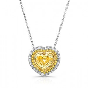 Uneek Heart-Shaped Fancy Yellow Diamond Pendant with Two-Tone Round Diamond Halo, 18K Gold