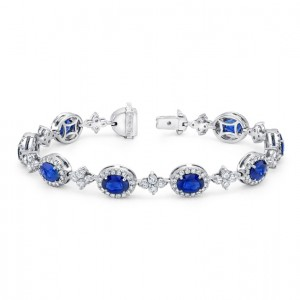 Uneek Oval Sapphire Bracelet with Floret-Shaped Diamond Cluster Links