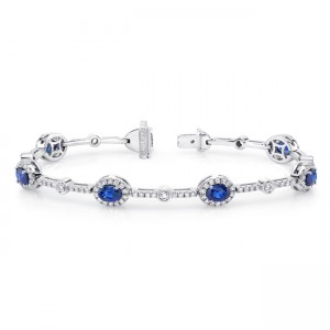 Uneek Oval Sapphire Bracelet with Round Bezel Diamond Station
