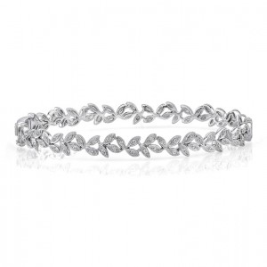 "Uneek ""Vine"" Stackable Diamond Bangle, White Gold version"