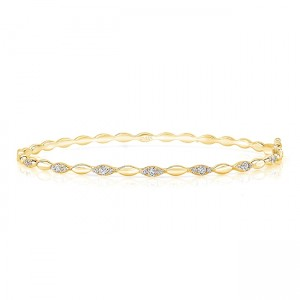 "Uneek ""Silver Lake"" Stackable Diamond Bangle, Yellow Gold version"