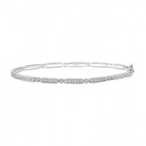 "Uneek ""Melrose"" Stackable Diamond Bangle, White Gold version"