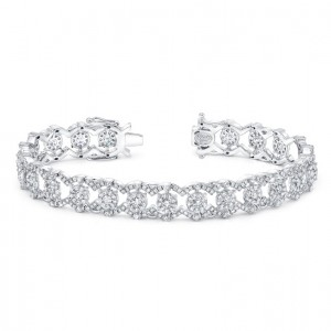 "Uneek ""Valenciennes de Ghent"" Open Lace Diamond Bracelet, 18K White Gold"
