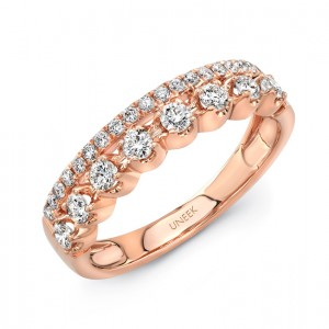 "Uneek LVBW1534 ""Arras"" Stack-Illusion Diamond Band in Rose"