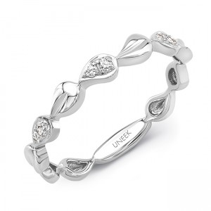 "Uneek ""Heliotrope"" Stackable Diamond Band (White Gold version)"